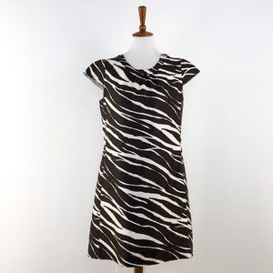 Kate Spade Brown White  Print Cap Sleeve Dress